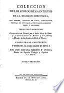 Coleccion de los apologistas antiguos de la religion christiana