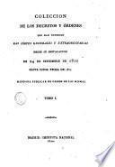 Colección de los decretos y órdenes que han expedido las Cortes generales y extraordinarias desde su instalación