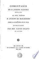 Comentario de D. Joseph Isidoro Morales al Exc. Señor D. Joseph de Mazarredo sobre la enseñanza de su hija
