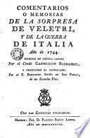 Comentarios o memorias de la sorpresa de Veletri y de la guerra de italia