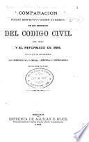 Comparacion por su respectivo órden numerico de los artículos del Codigo civil de 1870 y el reformado de 1884, en la que se encontrarán las diferencias, cambios, aumentos y supresiones que hay entre uno y otro