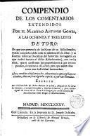 Compendio de los Comentarios Extendidos por el Maestro Antonio Gómez a las 83 leyes de TORO