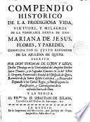 Compendio histórico de la vida de la Ven. Mariana de Jesús Flores y Paredes, La Azuzena de Quito