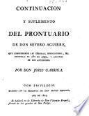 Comtinuacion y suplemento del Prontuario de don Severo Aguirre