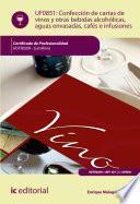Confección de cartas de vinos, otras bebidas alcohólicas, aguas envasadas, cafés e infusiones. HOTR0209