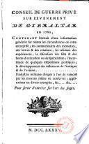 Conseil de guerre príve sur l'événement de Gibraltar en 1782 ...