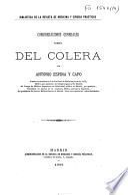 Consideraciones generales acerca del cólera