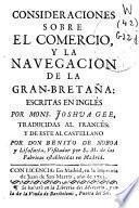 Consideraciones sobre el comercio, y la navegacion de la Gran-Bretaña