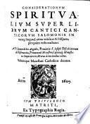 Considerationum spiritualium super librum Cantici Canticorum Salomonis