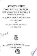 Constantini Comitis Swiecicki ... De jure naturae et gentium in genere