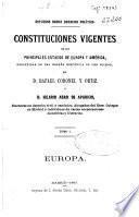 Constituciones de Bélgica, Francia, Portugal, Holanda, Suecia, Noruega, Prusia, Suiza é Italia