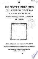 Constituciones del Cabildo de Curas y Beneficiados de las Parroquiales de la ciudad de Toledo