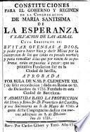 Constituciones para el gobierno y regimen de la Congregación de María Santisima de la Esperanza y Salvación de las almas