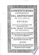 Constituciones synodales del Arzobispado de Valencia