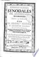 Constituciones synodales del Arzobispado de Zaragoza