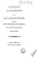 Contestación al Manifiesto del Sr. Duque del Infantado