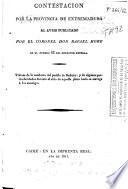 Contestación por la Provincia de Extremadura al aviso publicado por el coronel Don Rafael Hore