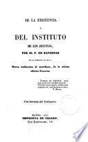 De la existencia y del Instituto de los Jesuitas