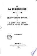 De la sociabilidad política o aristocracia social