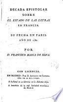 Década epistolar sobre el estado de las letras en Francia