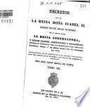 Decretos de la Reina Nuestra Señora Doña Isabel II.