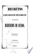 Decretos de siete de mayo de 1870 y nueve de enero de 1871 sobre redención de censos