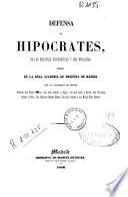 Defensa de Hipócrates, de las escuelas hipocráticas y del vitalismo