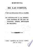 Defensa de las Cortes y de las Regalías de la Nación