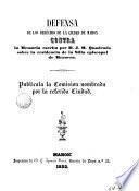 Defensa de los derechos de la ciudad de Mahón, contra la memmoria escrita por don J.M. Quadrado, sobre la residencia de la silla episcopal de Menorca