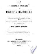 Derecho natural, o Filosofia del derecho