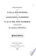 Descripcion de la villa de Potosi, y de los partidos sugetos a su intendencia