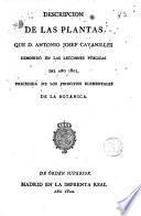 Descripción de las plantas que D. Antonio Josef Cavanilles demostró en las lecciones públicas del año 1801, 1