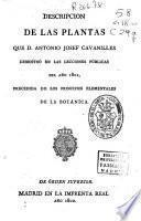 Descripcion de las plantas que D. Antonio Josef Cavanilles demostró en las lecciones públicas del año 1801