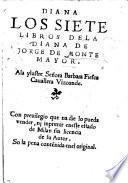 Diana. Los siete libros de la Diana de Jorge de Montemayor, etc. MS. notes