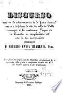 Discurso que en la solemne misa de la fiesta decenal que en 2 de febrero de 1861, la villa de Valls consagró á la santísima Virgen de la Candela en cumplimiento del voto de sus antepasados pronunció D. Eduardo María Vilarrasa