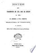 Discurso que pronunció el día dos de enero de 1861, al abrirse la Real Audiencia Chancillería de Puerto-Rico, su regente ... Manuel de Lara y Cárdenas
