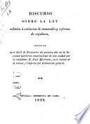 Discurso sobre la ley relative á extincion de monacales y reforma de regulares, pronunciado en el dia 6 de noviembre del presente año en la Sociedad patriotica constitucional ...