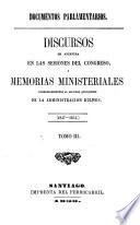 Discursos de apertura en las sesiones del Congreso, i memorias ministeriales