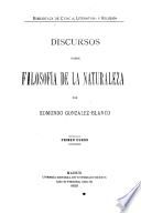 Discursos sobre filosofía de la naturaleza