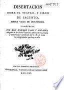 Disertacion sobre el teatro y circo de Sagunto