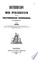 Distribución de premios en la Universidad Literaria de Barcelona