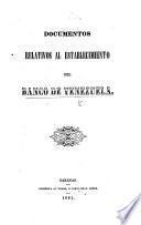 Documentos relativos al establecimiento del Banco de Venezuela