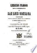 Ejercicios piadosos que la Congregación de San Luis Gonzaga practicará ... los domingos terceros de cada mes en la Parroquia de Belén donde dicha Congregación se halla erigida
