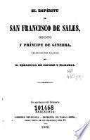 El Espíritu de San Francisco de Sales, obispo y príncipe de Ginebra