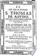 El Sol de la iglesia S. Thomas de Aqvino, cvyas lvzes brillan en las qvatro partes del mvndo