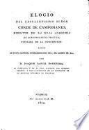 Elogio del Conde de Campomanes, leido 23 Agosto 1802