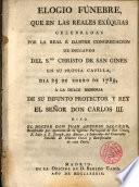 Elogio fúnebre ... de D. Carlos III