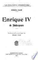 Enrique IV [i. e. cuarto] de Shakespeare