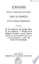 Ensayo sobre la versificacion mas propia para la epopeya en las lenguas modernas