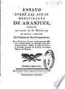 Ensayo sobre las aguas medicinales de Aranjuez
